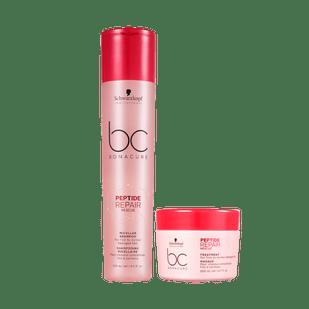 Kit-Schwarzkopf-Professional-BC-Bonacure-Peptide-Repair-Rescue---Shampoo-250ml---Mascara-Capilar-200ml